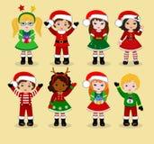 与圣诞节服装的孩子 男孩动画片不满意的例证少许向量 皇族释放例证