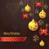 与圣诞节球和弓的圣诞快乐背景在金子红色 免版税库存照片
