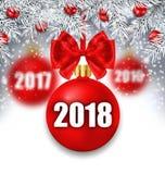与圣诞节球和银色枝杈的新年发光的背景 皇族释放例证