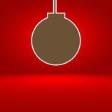 与圣诞节球的抽象红色梯度背景 库存图片