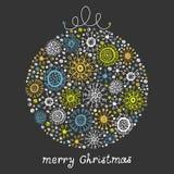 与圣诞节球的葡萄酒看板卡 免版税库存图片
