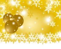 与圣诞节球的金黄圣诞节背景 图库摄影