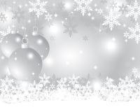与圣诞节球的银色圣诞节背景 免版税库存图片