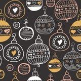 与圣诞节球的黑板样式 Xmas艺术 向量例证