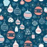 与圣诞节球的黑板样式 Xmas艺术 库存例证