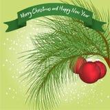 与圣诞节球的绿色毛皮树分支在雪下 库存照片