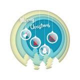 与圣诞节球装饰纸的圣诞快乐切开了艺术猪圈 皇族释放例证