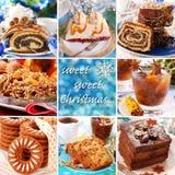 与圣诞节甜点的拼贴画 免版税库存图片