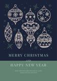 与圣诞节白色球的汇集的图象的贺卡在黑暗的背景的 库存例证