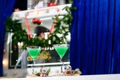 与圣诞节的两块马蒂尼鸡尾酒玻璃绿化在蓝色backgr的鸡尾酒 库存图片