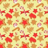 与圣诞节的无缝的样式冒汗:棒棒糖,棒棒糖,姜曲奇饼 库存例证