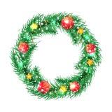 与圣诞节的绿色圣诞树花圈 免版税库存图片
