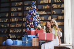 与圣诞节礼品的愉快的系列 免版税库存图片