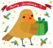 与圣诞节礼物的滑稽的罗宾 皇族释放例证