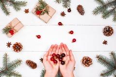 与圣诞节礼物,冷杉的圣诞节背景分支,杉木锥体,红色装饰 女性现有量 Xmas和新年好 图库摄影