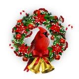 与圣诞节花圈和弓的白色卡片 免版税库存照片
