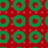 与圣诞节花圈和雪花的无缝的样式在红色背景 向量例证