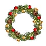 与圣诞节花圈的圣诞节背景 免版税图库摄影