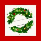 与圣诞节花圈的看板卡您的设计的 免版税库存照片