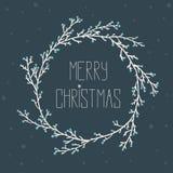 与圣诞节花圈的葡萄酒卡片 免版税库存图片