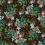 与圣诞节花束的无缝的样式 库存图片