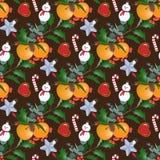 与圣诞节花束的无缝的样式 库存照片