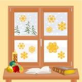 与圣诞节蜡烛和旧书传染媒介的冬天窗口 免版税库存照片