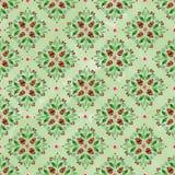 与圣诞节装饰品的水彩无缝的样式在浅绿色的背景 免版税库存照片