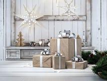 与圣诞节装饰品的美丽的礼物 3d翻译 库存照片