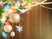 与圣诞节装饰的假日例证 10 eps 免版税库存照片