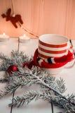 与圣诞节装饰的冷杉分支 免版税库存照片