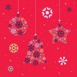 与圣诞节装饰的圣诞卡模板 免版税库存图片