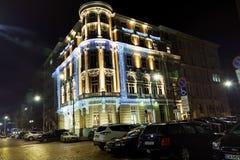 与圣诞节装饰的大厦在索非亚,保加利亚 图库摄影