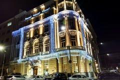 与圣诞节装饰的大厦在索非亚,保加利亚 免版税库存图片