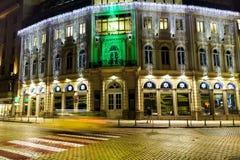 与圣诞节装饰的大厦在索非亚,保加利亚 库存图片