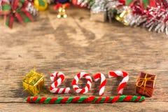 与圣诞节装饰的新年2017年 库存照片