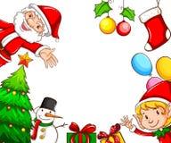 与圣诞节装饰的框架 免版税图库摄影