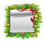 与圣诞节装饰的白纸 库存照片