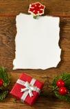 与圣诞节装饰的空白附注 免版税库存图片