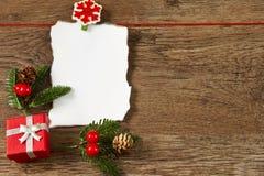 与圣诞节装饰的空白附注 库存照片