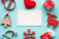 与圣诞节装饰的空白附注 图库摄影