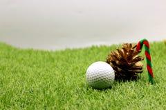 与圣诞节装饰的高尔夫球的高尔夫球运动员假日 免版税图库摄影