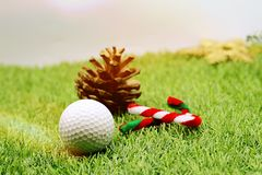 与圣诞节装饰的高尔夫球的高尔夫球运动员假日 图库摄影
