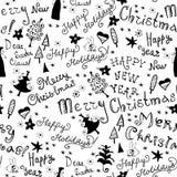 与圣诞节词组的无缝的手写的样式 免版税库存图片