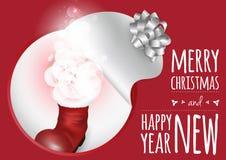 与圣诞节起动和不可思议的焕发的一张时髦卡片 免版税库存照片
