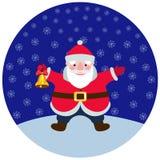 与圣诞节铃声的动画片圣诞老人 免版税库存照片