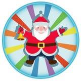 与圣诞节铃声的动画片圣诞老人 免版税库存图片