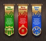 与圣诞节问候和符号的横幅 库存照片