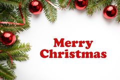 与圣诞节问候`圣诞快乐`的圣诞节装饰 库存图片