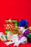 与圣诞节&新年礼物的庆祝题材 免版税库存图片